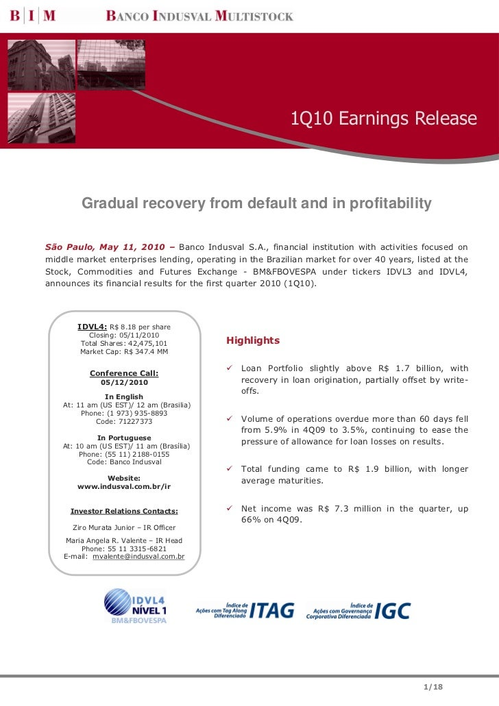 1Q10 Earnings Release         Gradual recovery from default and in profitabilitySão Paulo, May 11, 2010 – Banco Indusval S...