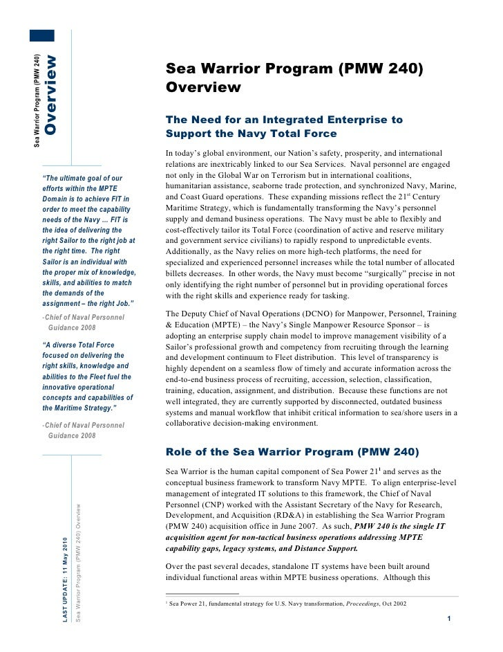 Sea Warrior Program (PEO-EIS PMW 240) 8-pg overview story