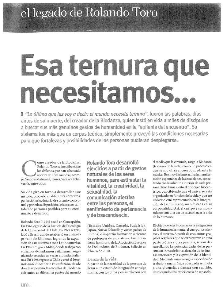 2010 El legado de Rolando Toro, Revista Uno Mismo