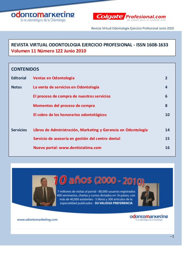 Revista Virtual Odontología Ejercicio Profesional Junio 2010REVISTA VIRTUAL ODONTOLOGIA EJERCICIO PROFESIONAL - ISSN 1608-...