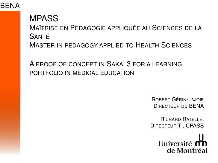 MPASSMaîtrise en Pédagogieappliquée au Sciences de la SantéMaster in pedagogy applied to Health SciencesA proof of concept...