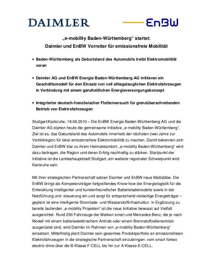 """""""e-mobility Baden-Württemberg"""" startet:       Daimler und EnBW Vorreiter für emissionsfreie Mobilität• Baden-Württemberg a..."""