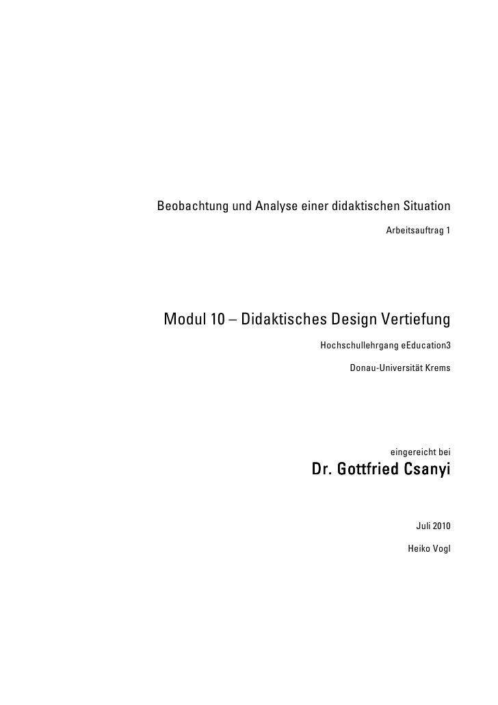Beobachtung und Analyse einer didaktischen Situation Arbeitsauftrag 1