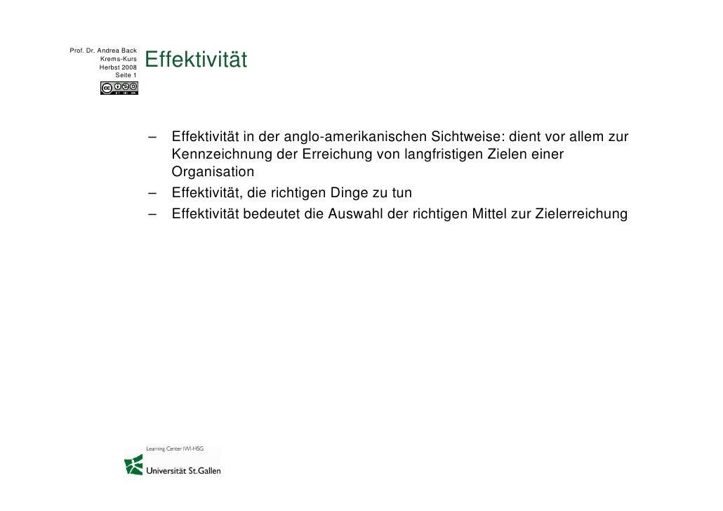 Prof. Dr. Andrea Back            Krems-Kurs           Herbst 2008                Seite 1                          Effektiv...