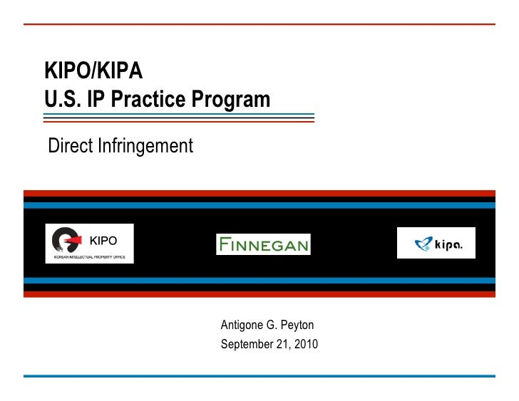 KIPO/KIPA Presentation: Direct Infringement (2010)