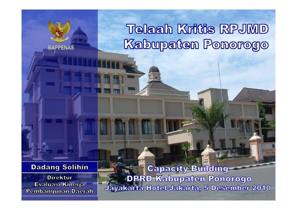 Telaah Kritis RPJMD Kabupaten Ponorogo
