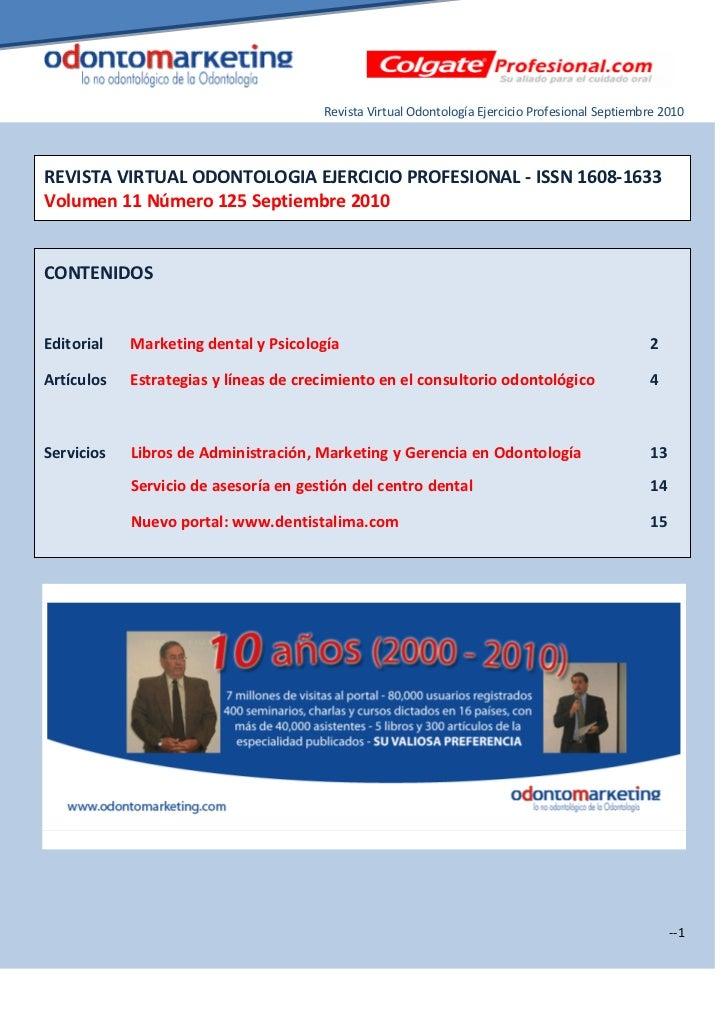 Revista Virtual Odontología Ejercicio Profesional Septiembre 2010REVISTA VIRTUAL ODONTOLOGIA EJERCICIO PROFESIONAL - ISSN ...