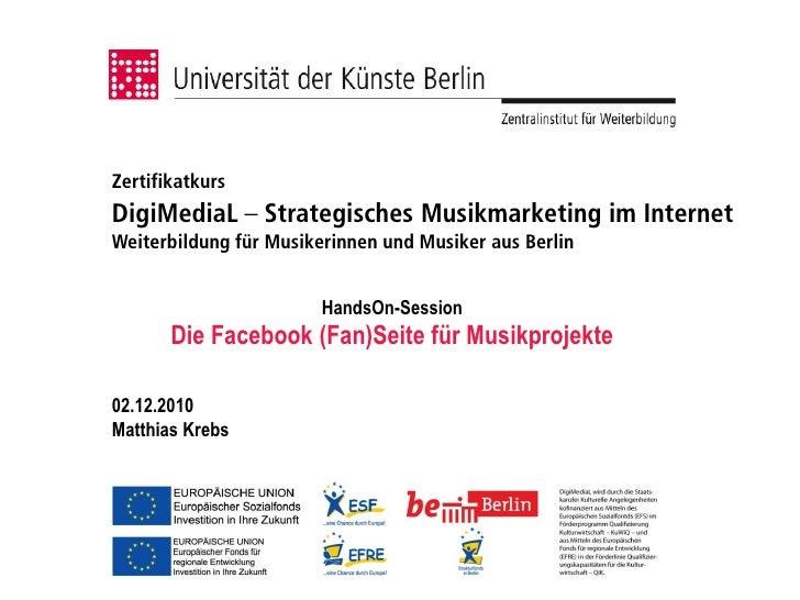 Zertifikatkurs DigiMediaL – Strategisches Musikmarketing im Internet Weiterbildung für Musikerinnen und Musiker aus Berlin...