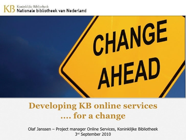 Developing KB online services... for a change