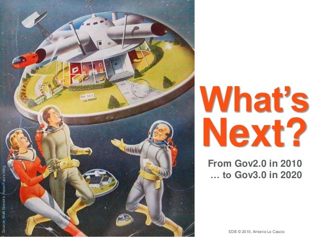 Source:MattNovak'sPaleo-Futureblog From Gov2.0 in 2010 … to Gov3.0 in 2020 What's Next? EDB © 2010, Antonio Lo Cascio