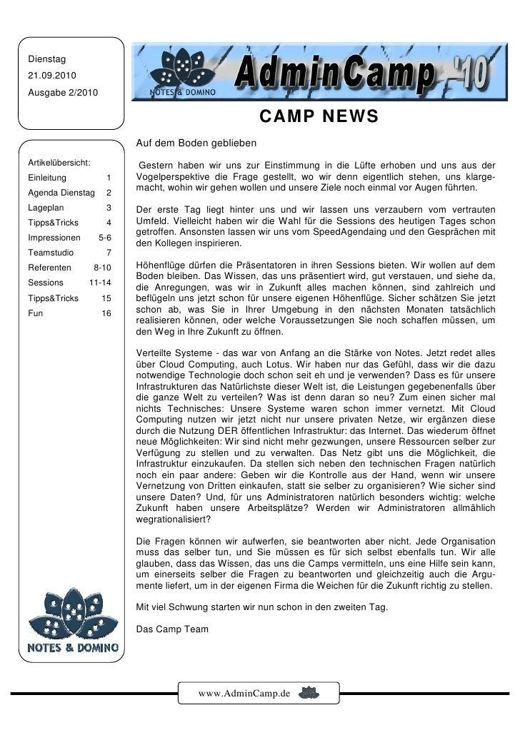 Dienstag 21.09.2010 Ausgabe 2/2010                                                          CAMP NEWS                     ...