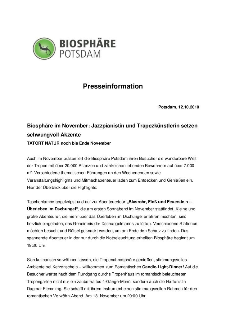 Presseinformation                                                                   Potsdam, 12.10.2010Biosphäre im Novemb...