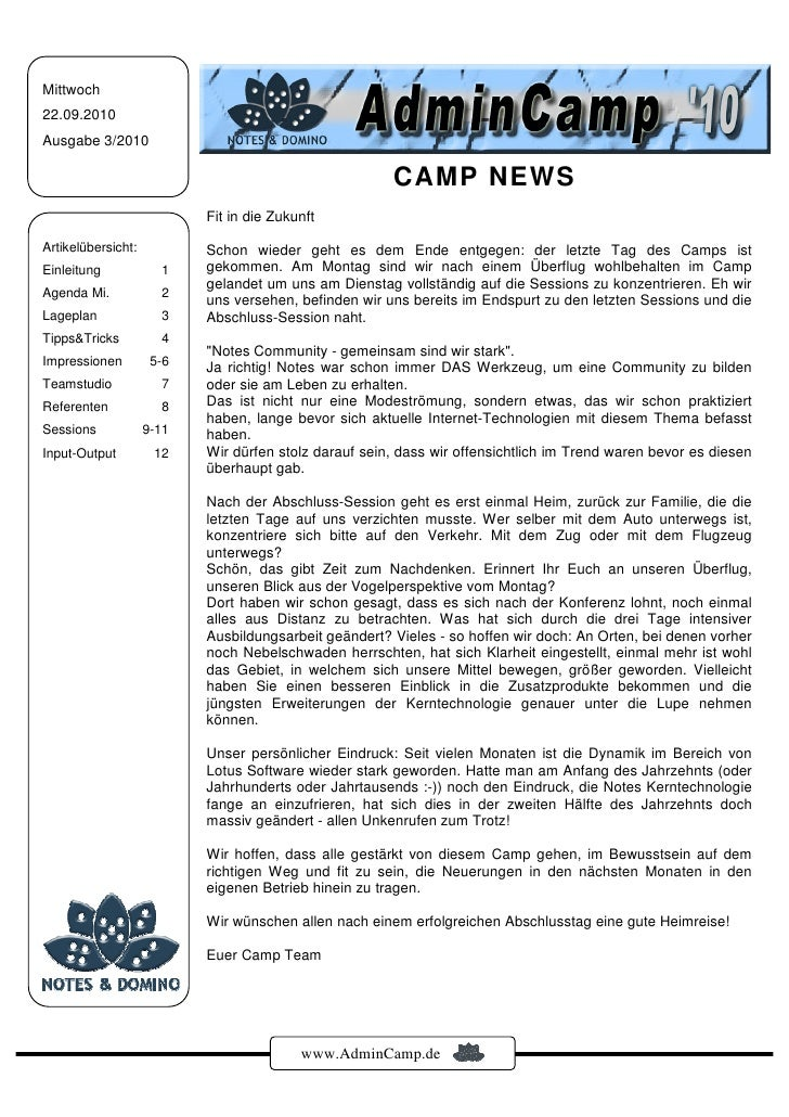 Mittwoch 22.09.2010 Ausgabe 3/2010                                                         CAMP NEWS                      ...
