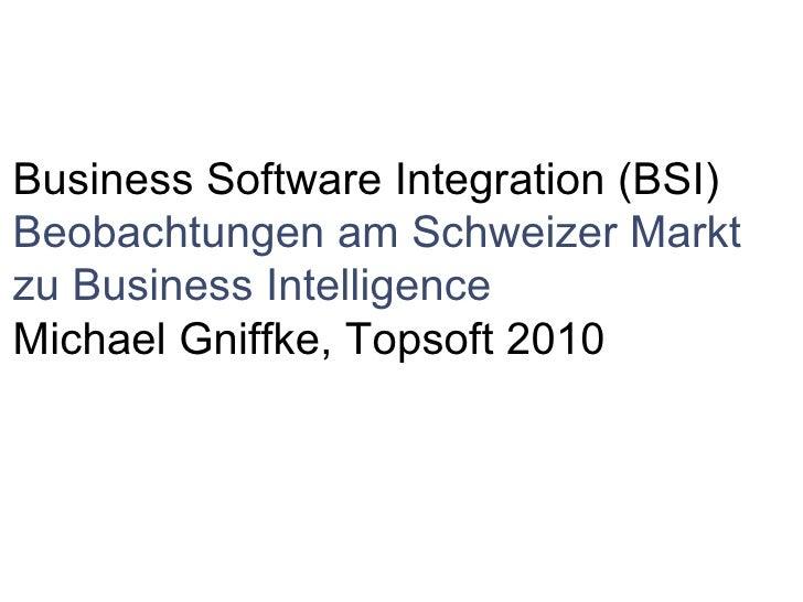  Business Software Integration (BSI) Beobachtungen am Schweizer Markt zu Business Intelligence Michael Gniffke, Topsoft...