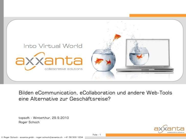 Bilden eCommunication, eCollaboration und andere Web-Tools eine Alternative zur Geschäftsreise?<br />topsoft - Winterthur,...