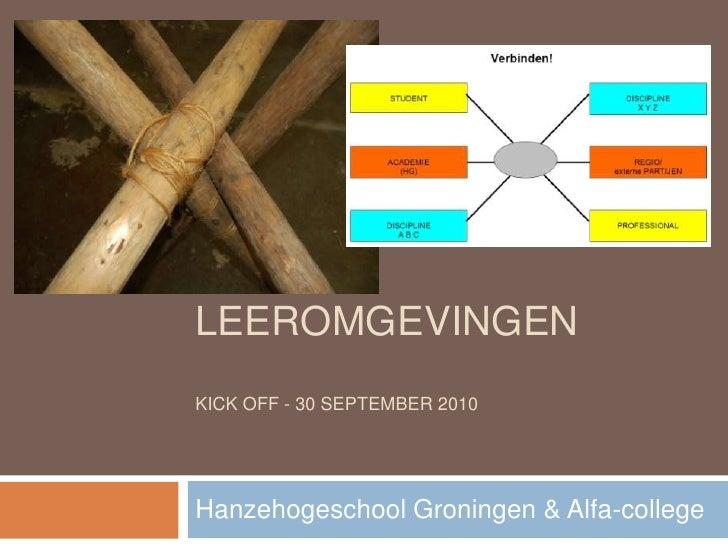 HYBRIDE leeromgevingenKick off - 30 september 2010<br />Hanzehogeschool Groningen & Alfa-college<br />