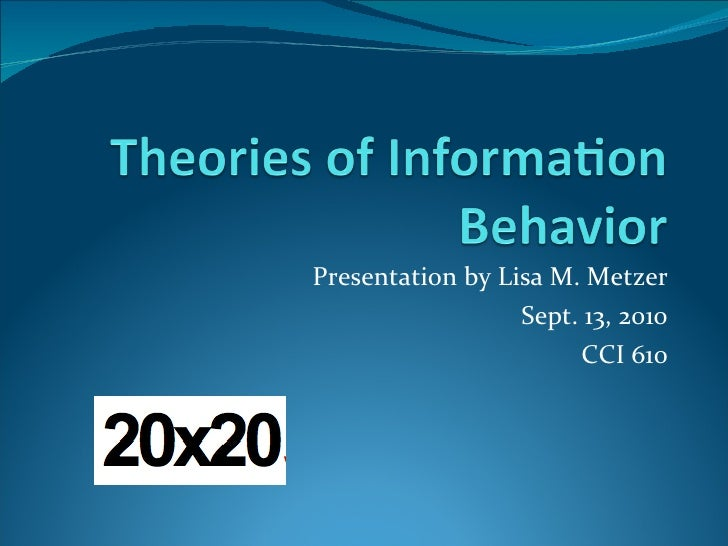 Presentation by Lisa M. Metzer Sept. 13, 2010 CCI 610