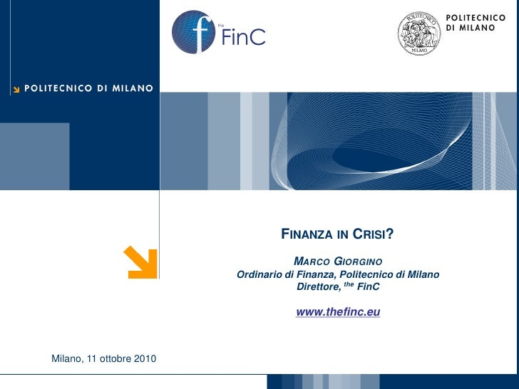 FinCthe                                          FINANZA IN CRISI?                                             MARCO GIORG...