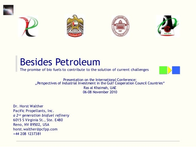 Besides Petroleum The promise of bio fuels to contribute to the solution of current challenges Presentation on the Interna...