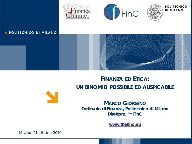 Finanza ed Etica