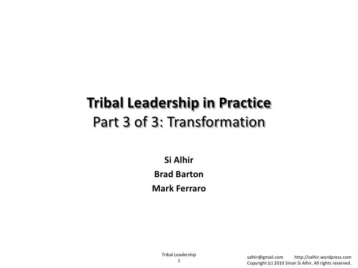 Tribal leadership: transformation (part 3 of 3)