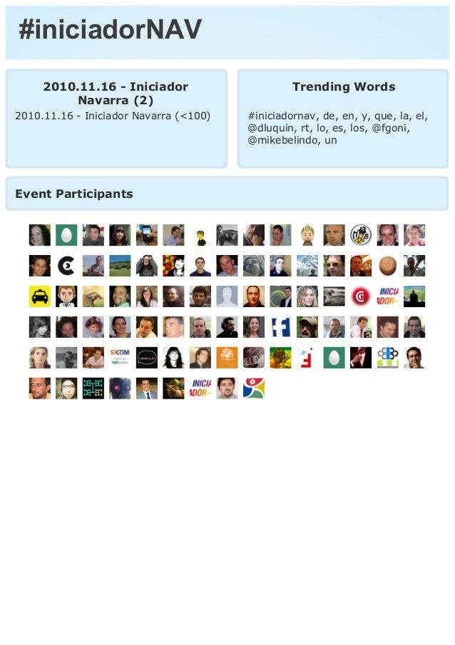 #iniciadorNAV 2010.11.16 - Iniciador Navarra (2) 2010.11.16 - Iniciador Navarra (<100) Trending Words #iniciadornav, de, e...