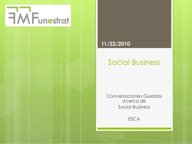 Social Business Conversaciones Guiadas acerca de Social Business ESCA 11/22/2010