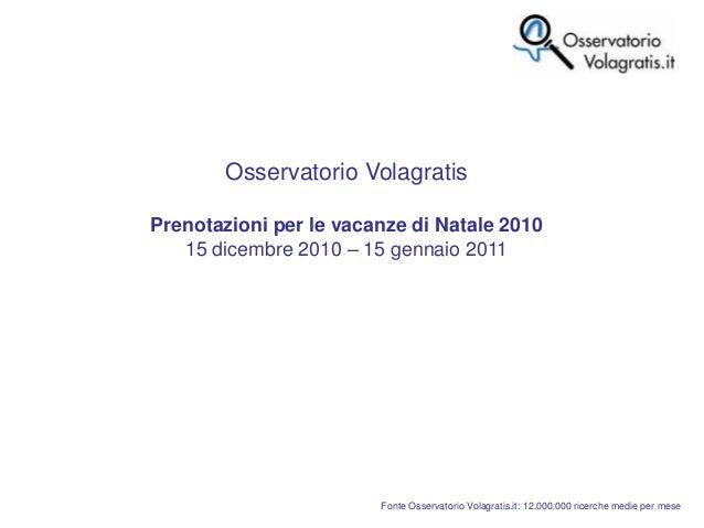 Fonte Osservatorio Volagratis.it: 12.000.000 ricerche medie per mese Osservatorio Volagratis Prenotazioni per le vacanze d...