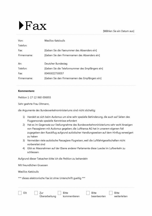 EFaX  [NähIen Sie ein Datum aus]  Von:  Wasilios Katsioulis  Telefon:   Fax:  [Geben Sie die Faxnummer des Absenders ein] ...