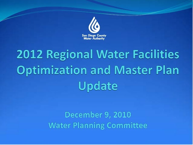 Background for 2002 RegionalWater Facilities Master Plan Initiated in 1998 Focus on implementing supply diversification...