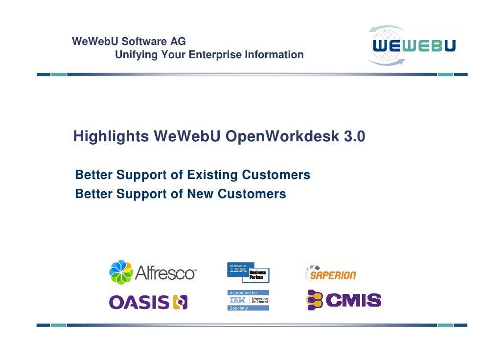 Highlights WeWebU OpenWorkdesk 3.0