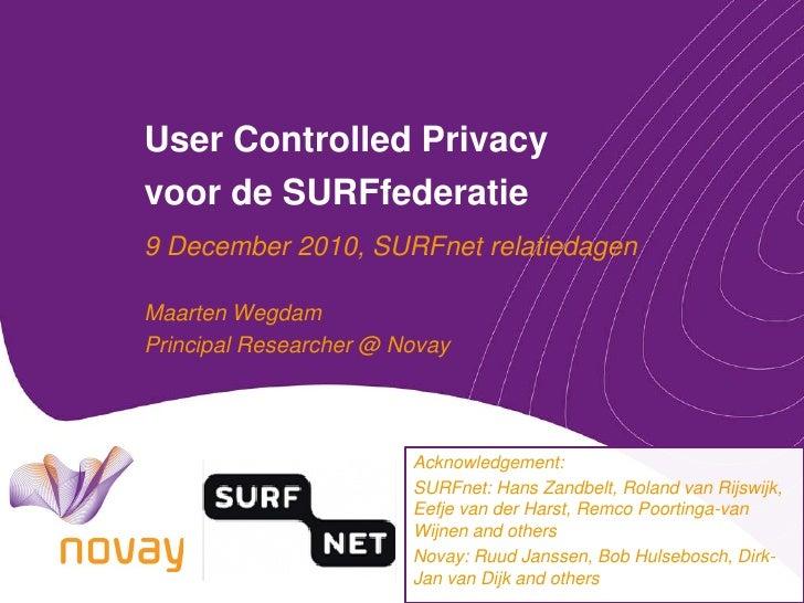 User controlled privacy voor de SURFfederatie