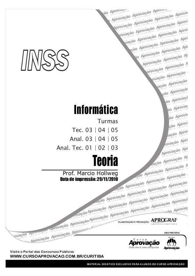 Teoria Prof. Marcio Hollweg Data de impressão: 29/11/2010 Informática UMA PARCERIA MATERIAL DIDÁTICO EXCLUSIVO PARA ALUNOS...