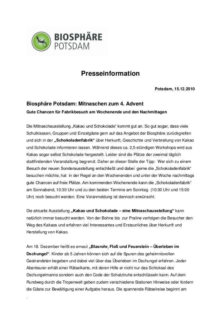 Presseinformation                                                                        Potsdam, 15.12.2010Biosphäre Pots...