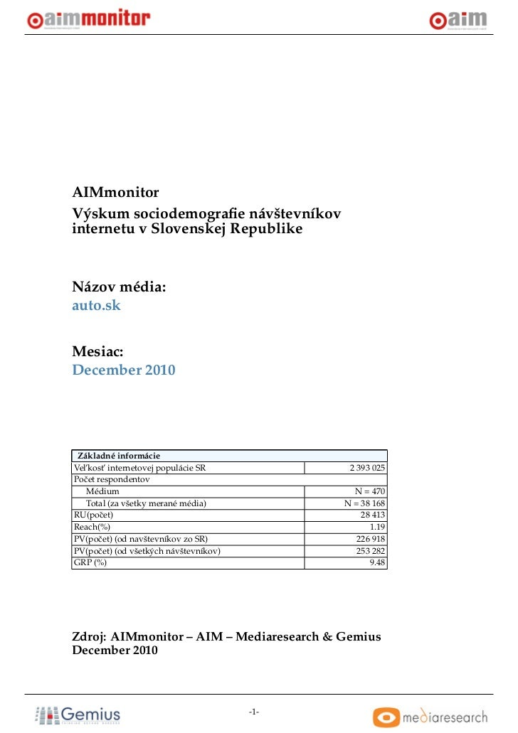AIMmonitorVýskum sociodemografie návštevníkovinternetu v Slovenskej RepublikeNázov média:auto.skMesiac:December 2010 Základ...