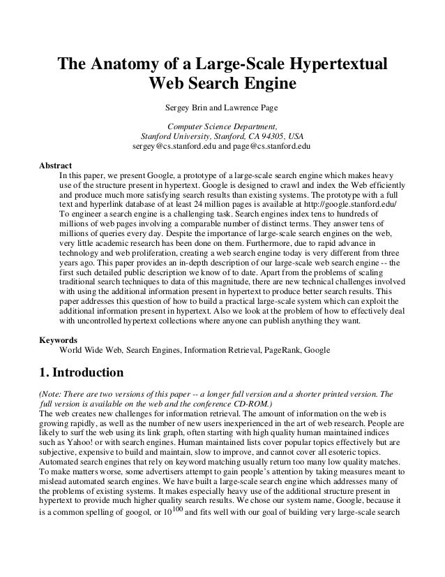 The Anatomy of a Large-Scale Hypertextual Web Search Engine Sergey Brin and Lawrence Page Computer Science Department, Sta...