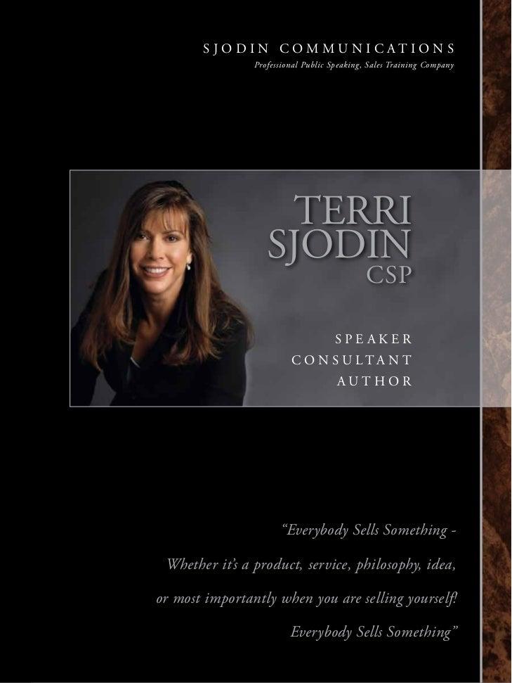 Terri Sjodin | Professional Public Speaker | Sales Training Consultant | Persuasive Sales Skills Presenter | Author
