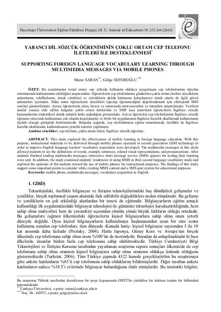 Hacettepe Üniversitesi Eğitim Fakültesi Dergisi (H. U. Journal of Education) 38: 252-266 [2010]     YABANCI DİL SÖZCÜK ÖĞR...