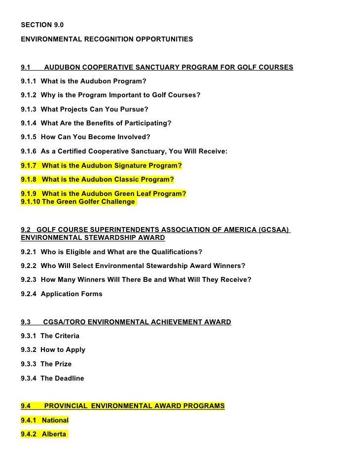SECTION 9.0  ENVIRONMENTAL RECOGNITION OPPORTUNITIES   9.1    AUDUBON COOPERATIVE SANCTUARY PROGRAM FOR GOLF COURSES 9.1.1...