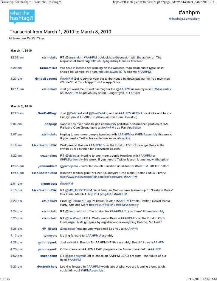 Transcript for #aahpm - What the Hashtag?!                                        http://wthashtag.com/transcript.php?page...