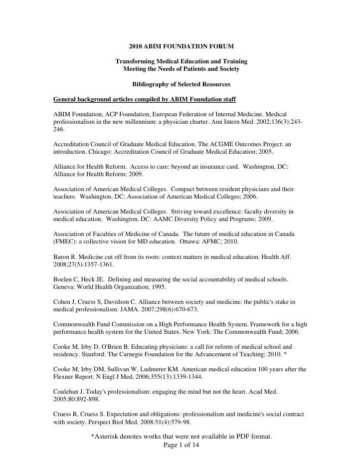 2010 abim foundation forum bibliography