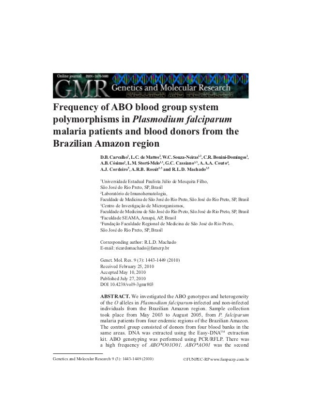 Frequency of ABO blood group systempolymorphisms in Plasmodium falciparummalaria patients and blood donors from theBrazili...