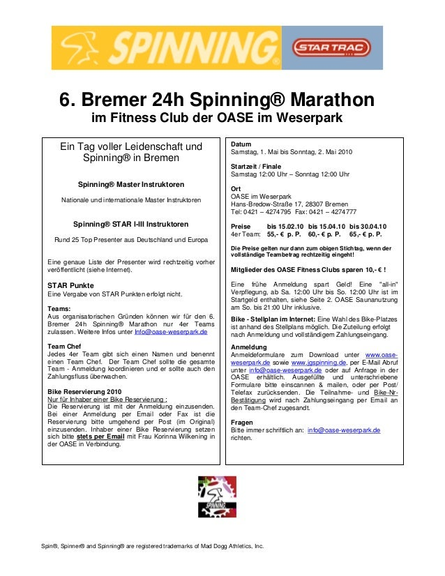 Spin®, Spinner® and Spinning® are registered trademarks of Mad Dogg Athletics, Inc. 6. Bremer 24h Spinning® Marathon im Fi...