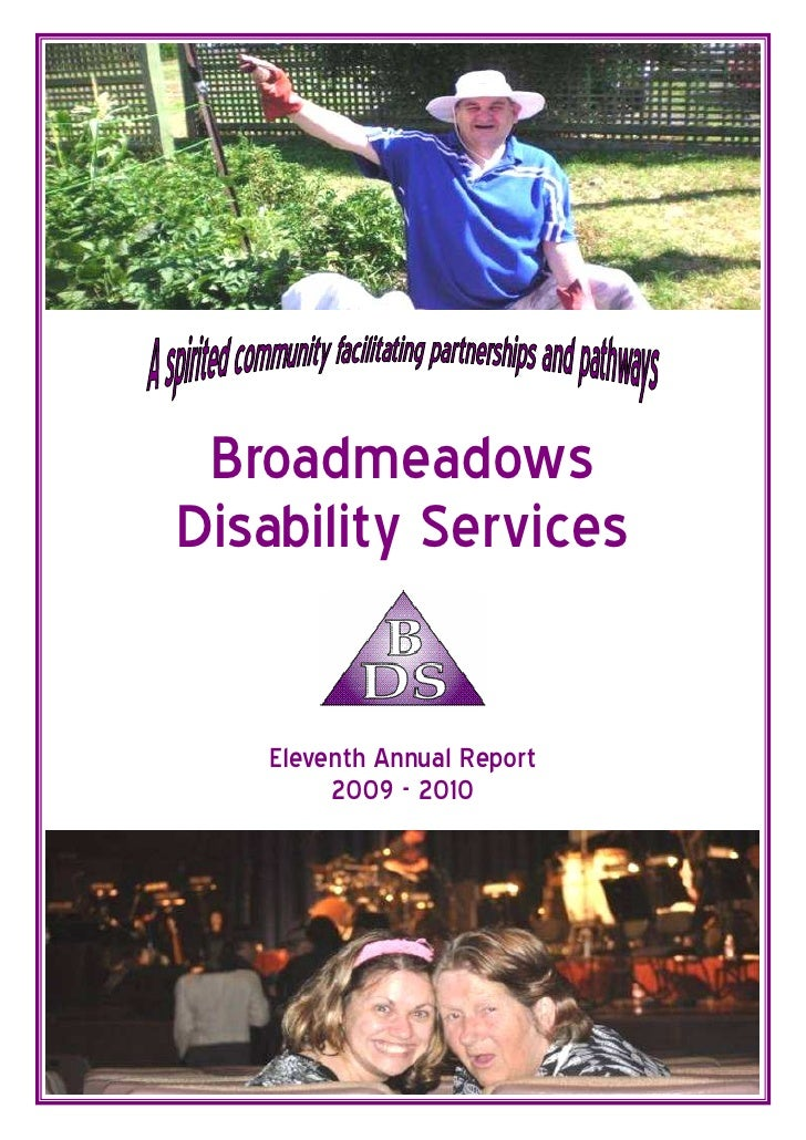 BroadmeadowsDisability Services   Eleventh Annual Report        2009 - 2010