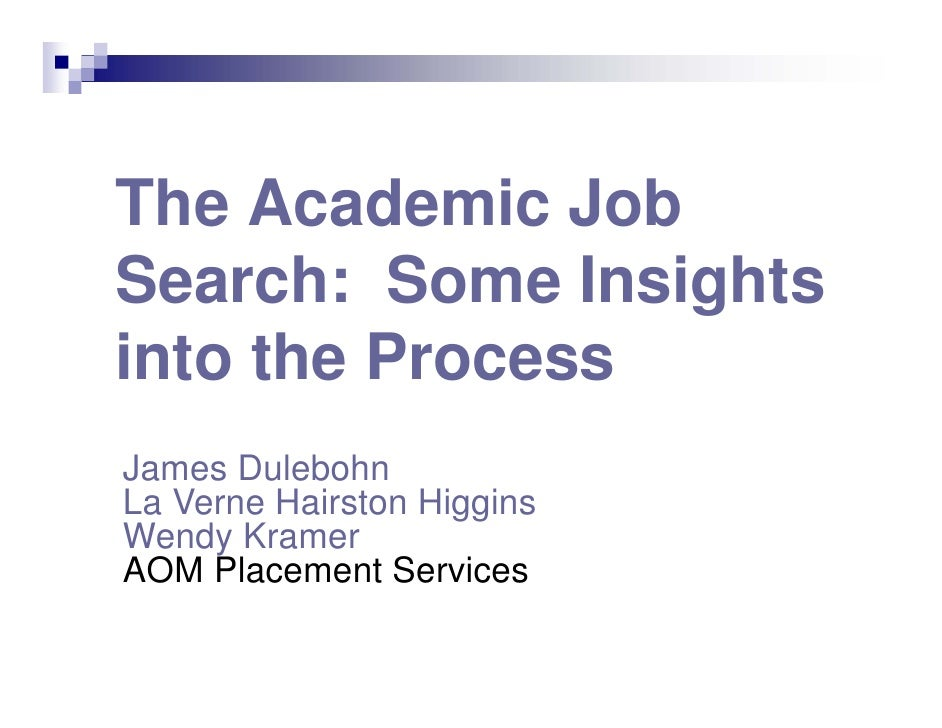 The Academic Job Search: Some Insights into the Process James Dulebohn La Verne Hairston Higgins Wendy Kramer AOM Placemen...