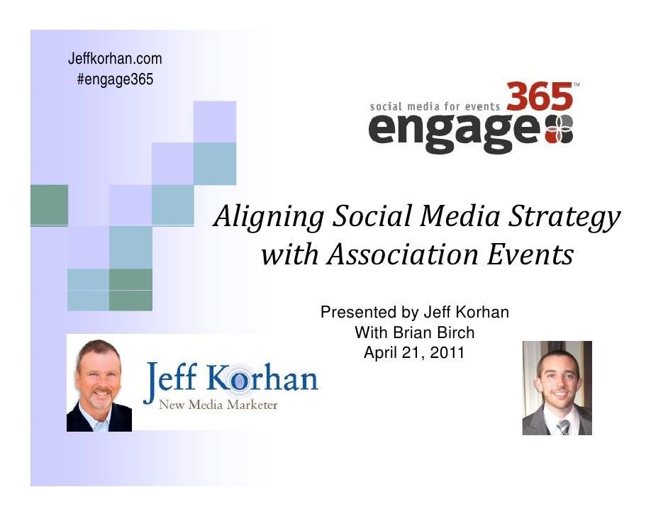 Jeffkorhan.com  #engage365                      AligningSocialMediaStrategy                  Aligning Social Media Str...