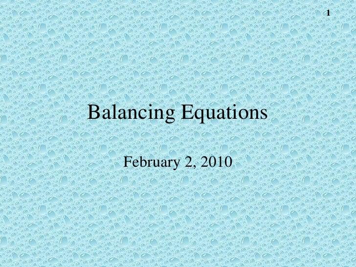 2010 Balancing Equations