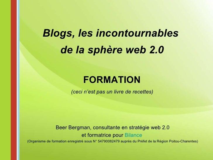FORMATION (ceci n'est pas un livre de recettes) Blogs, les incontournables  de la sphère web 2.0 Beer Bergman, consultante...