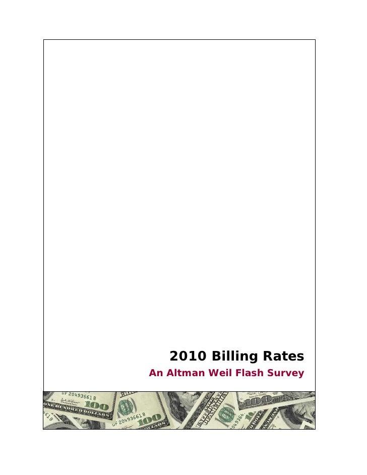 2010 Billing Rates An Altman Weil Flash Survey