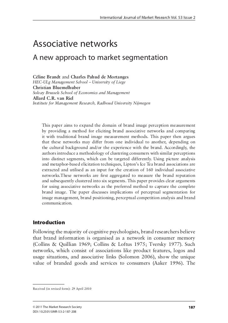 International Journal of Market Research Vol. 53 Issue 2Associative networksA new approach to market segmentationCéline Br...